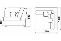 Модуль «Монца»: кресло угловое, размер: 107*107*84