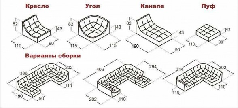 Диван модульный Монреаль Премиум